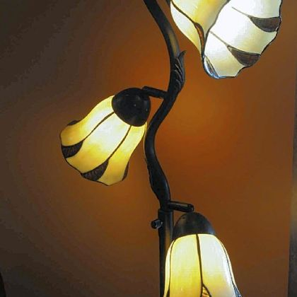 A light fixture in the living room of the Wise home.
