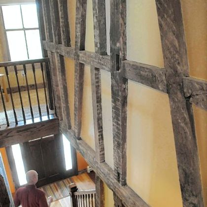 Original beams were exposed during renovation of the Wise home. Ryan Wise's family is the fifth generation to live in the house, which was built as a drovers inn by the Harmonists.