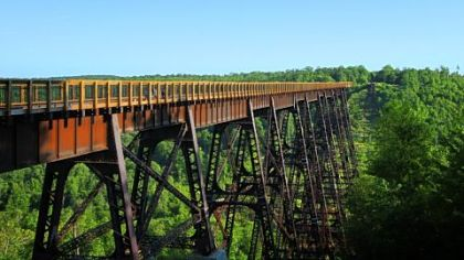 The Kinzua Sky Walk lets visitors walk out 600 feet into the Kinzua Gorge.