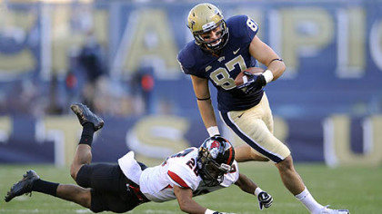 Pitt's Mike Shanahan pushes away Gardner-Webb's Drew White in the second quarter.