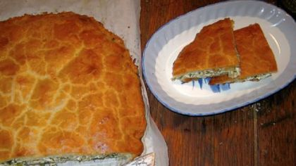A gorgeous treat -- Spicy Swiss Chard and Feta Cheese Pie in Yogurt Pastry Dough.