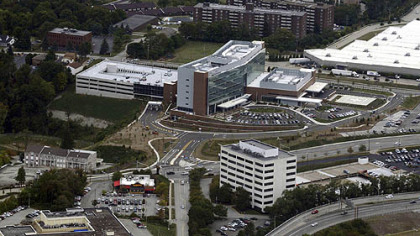 This is an aerial photograph UPMC East Hospital in Monroeville taken on Monday, Sept. 17, 2012.