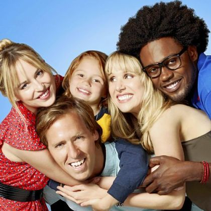 "Odd-couple siblings Kate, portrayed by Dakota Johnson, left, and Ben, portrayed by Nat Faxon, center, try to help each other through life in ""Ben and Kate."" The new comedy also stars Maggie Elizabeth Jones, second from left, Lucy Punch and Echo Kellum."