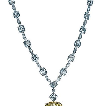 The finished necklace with the 128.54-carat Tiffany Diamond and white diamonds totaling more than 100 carats.  The stone received a new setting to commemorate the store's 175th anniversary.