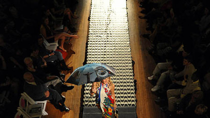 A model showcases clothes by Lana Neumeyer at Pittsburgh Fashion Week.
