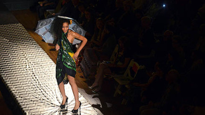 A model brings a taste of Brazil to the runway with colorful clothes by Lana Neumeyer.