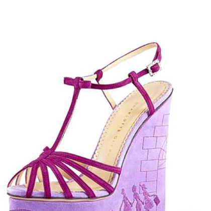 Commemorative embroidered wedge sandal, by Charlotte Olympia; $1,395.