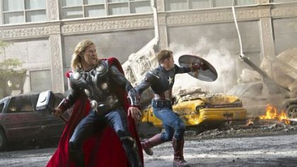 Chris Hemsworth as Thor, left, and Chris Evans as Captain America join other superheroes to save the Earth in &quot;Marvel&#039;s The Avengers&quot;