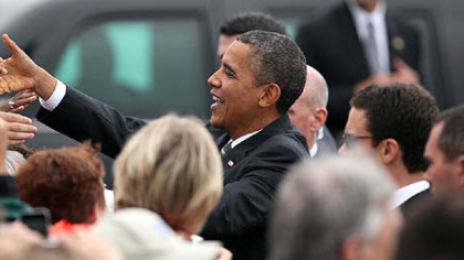 President Barack Obama greets supporters at Toledo Express Airport in Swanton, Ohio on Wednesday.