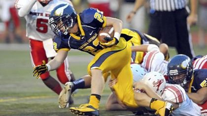 Central Catholic running back Luigi Lista-Brinza has been slowed by an ankle injury and is listed as questionable to play tonight.