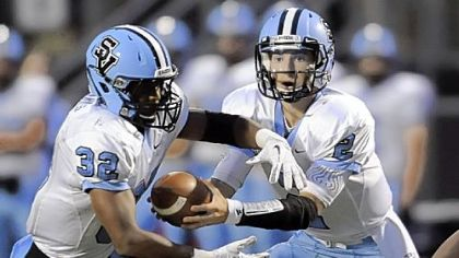 The Seneca Valley duo of running back Forrest Barnes, left, and quarterback Jordan Brown present a major problem for Central Catholic's vaunted defense.