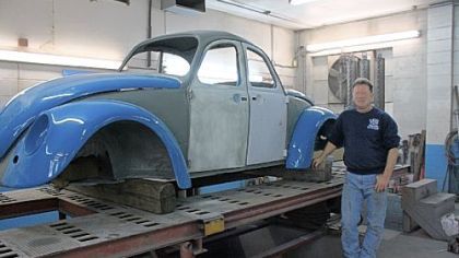 Al Furney says the distinctive '60s double-front VW Beetle is being patched up and will return as the Route 66 landmark.