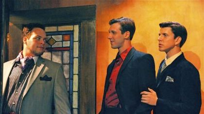 "Ryan K. Witt, left, as Rupert Cadall, John Steffenauer as Wyndham Brandon and Nicholas J. Browne as Charles Granillo in the Rep's production of ""Rope."""
