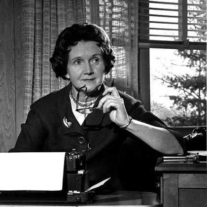 "Rachel Carson, author of ""Silent Spring,"" is seen typing in her library at home in Washington D.C. on March 13, 1963."