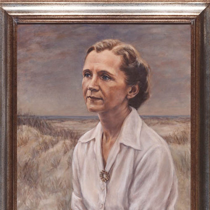 This oil portrait of Rachel Carson was painted by Pittsburgh artist Minnette Bickel.