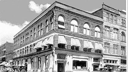 The First National Bank building, in the early 1900s.