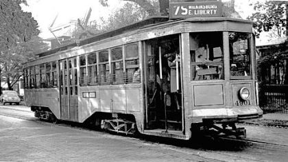 One of the trolley cars that moved through the streets of Wilkinsburg.