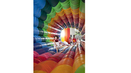 """Missing Links (The Rainbow Jumpy),"" an inflatable art piece by Felipe Dulzaides, will be at the Children's Museum of Pittsburgh from Oct. 6 to Jan. 27."