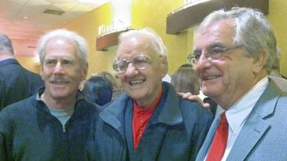 "Skyliners Jimmy Beaumont, left, and Wally Lester flank radio legend Porky Chedwick at the premiere of ""Since I Don't Have You"" Thursday at SouthSide Works Cinemas."