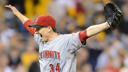 Reds starting pitcher Homer Bailey celebrates his no-hitter against the Pirates Friday at PNC Park.