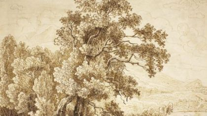 """Tree and Lake With Figures in Row Boat"" in Saint Vincent College's ""German Baroque Master Drawings"" exhibition."