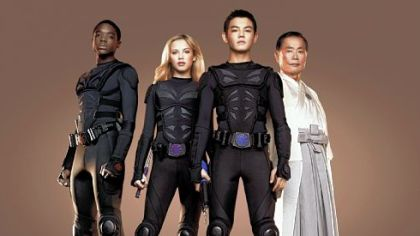 "Carlos Knight, Gracie Dzienny, Ryan Potter, George Takei in ""Supah Ninjas."""