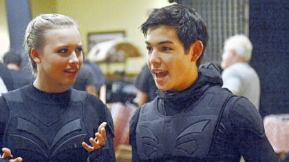 "Gracie Dzienny and Ryan Potter on the 31st Street Studios set of the Nickelodeon television series ""Supah Ninjas."""