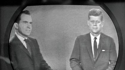 Richard M. Nixon and John F. Kennedy during their third presidential debate, Oct. 21, 1960.