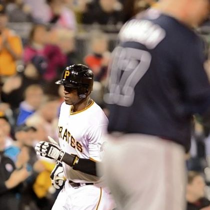 Starling Marte rounds third after hitting a solo shot in the fifth inning Monday at PNC Park.