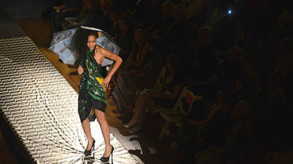 A model, in a look from Lana Neumeyer, walks the runway during the kickoff event of Pittsburgh Fashion Week at Soldiers & Sailors Memorial Hall and Museum, Oakland.
