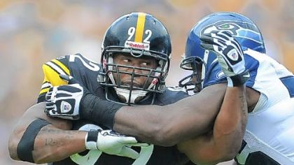James Harrison in a game against the Seahawks last season.