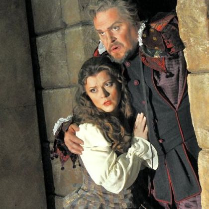 Mark Delavan as Rigoletto and Lyubov Petrova as his daughter Gilda.