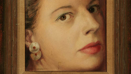"""Self-Portrait,"" Colleen Browning, oil on board."