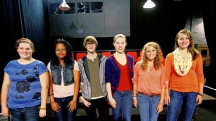Winners of the 2012 Young Playwrights Festival contest are, from left: Brigid Stuart, Brentwood Middle School; Alexis Payne, Pittsburgh CAPA; Liam McInerney, Lincoln Park Performing Arts Charter School; Lana Meyer and Marin Exler, Carlynton Junior-Senior High School; and Claire Zalla, Fort Couch Middle School. Their plays will be performed Saturday and Sunday at City's Lester Hamburg Studio on the South Side.