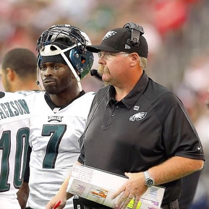 Head coach Andy Reid and quarterback Michael Vick of the Philadelphia Eagles stand on the sidelines during a Sept. 23 against the Cardinals.