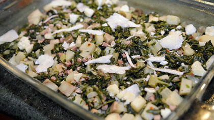 The makings for baked Swiss chard, potato and pancetta prepared by Father Sam Esposito.