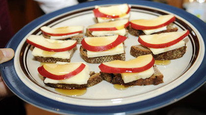 Pears crostini with asiago cheese & honey prepared for by Father Sam Espositol.