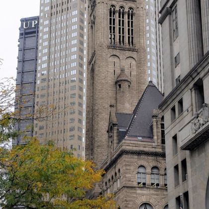 A view along Grant Street,  showing the U.S. Steel Tower, BNY Mellon Center, Allegheny County Courthouse,  and the City-County Building.