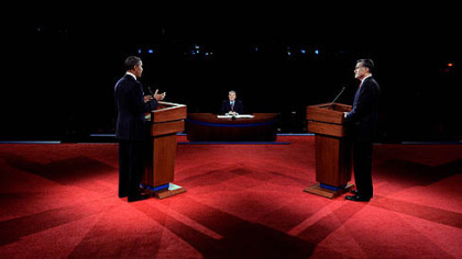 President Barack Obama and Republican presidential nominee Mitt Romney participate in the first presidential debate at the University of Denver.