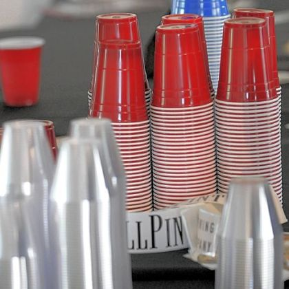 Nothing fancy: Plastic cups at last weekend&#039;s Tapped pop-up beer garden at Bakery Square in East Liberty.