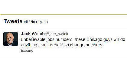 A screen grab of Jack Welch's tweet about the jobless numbers.