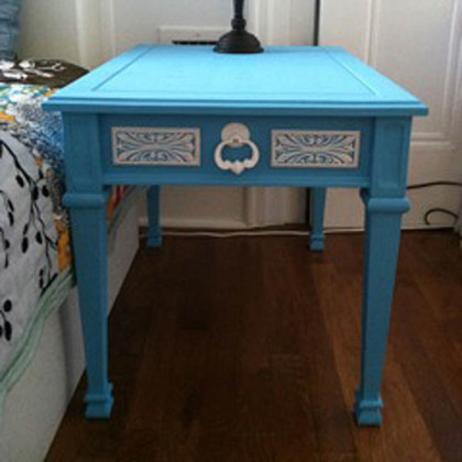 After photo of sky blue end tables by Artifact Pittsburgh.