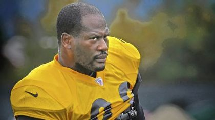 James Harrison, pictured, and LaMarr Woodley will be rotated to save energy in the game Sunday against the Philadelphia Eagles and their elusive quarterback, Michael Vick.