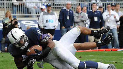 Penn State receiver Allen Robinson scores a touchdown in this afternoon's game against Northwestern at State College.
