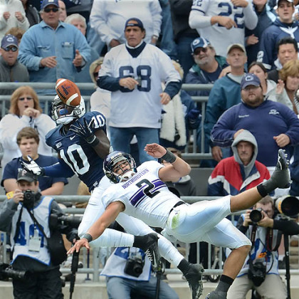 Penn State safety Malcolm Willis breaks up a pass intended for Northwestern's Kain Colter in this afternoon's game at State College.