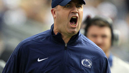 Penn State head coach Bill O'Brien yells from the sidelines during the first quarter of today's game against Northwestern in State College.