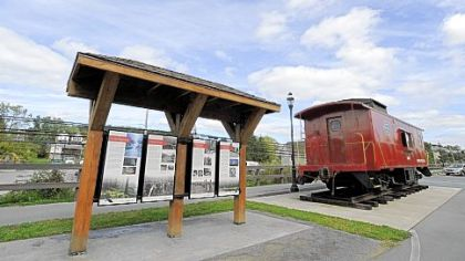 The Rails to Trails station park has a restored former New York Centeral Caboose on display and some historic markers at the beging of the trail in the town of Jersey Shore.