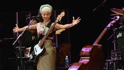 Bassist and vocalist Esperanza Spalding performs to a capacity crowd at the Byham Theater.