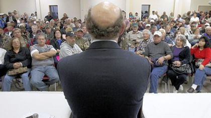 Kenneth Feinberg answers concerned citizens' questions during a town hall meeting in Grand Isle, La., about the impact of BP's Deepwater Horizon explosion that killed 11 men and caused an environmental calamity along the Gulf Coast in 2010.