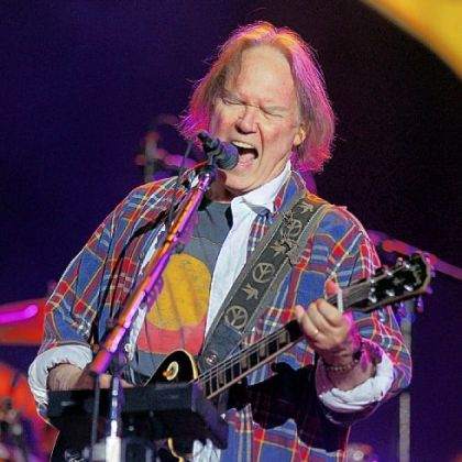 Neil Young performing with his band Crazy Horse at the Global Citizen Festival in New York's Central Park on Sept. 29.